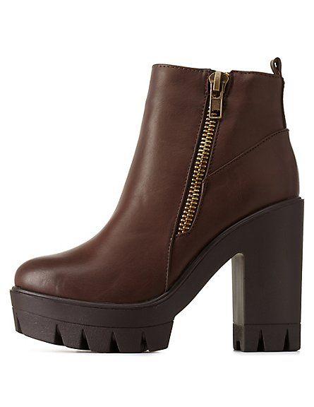 b77098b1d Bamboo Lug Sole Platform Chunky Heel Booties | shoes in 2019 | Shoe ...