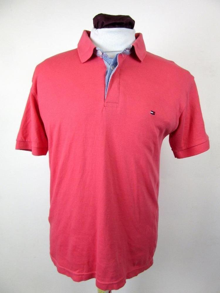 Tommy Hilfiger Men s Vintage Sport Pink Summer Polo Shirt