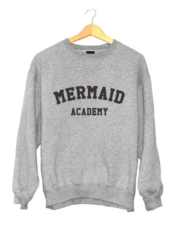 ae41ab056c0af Mermaid academy sweatshirt gray crewneck for womens girls jumper ...