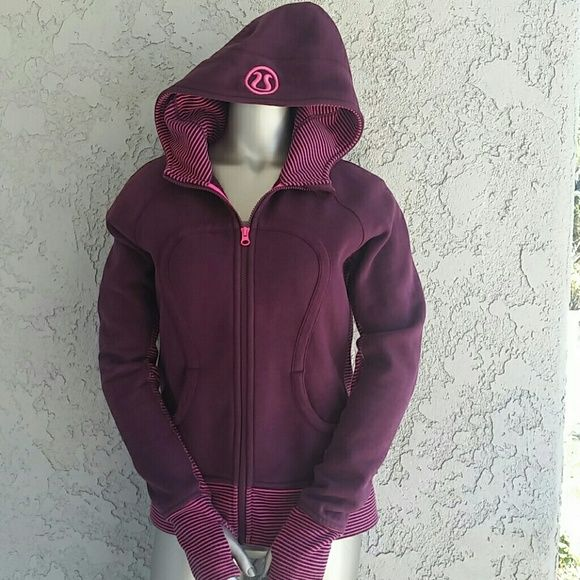 Lululemon Scuba sweater Lululemon zip-up sweater. Magenta  Size 6 Thumbholes lululemon athletica Sweaters