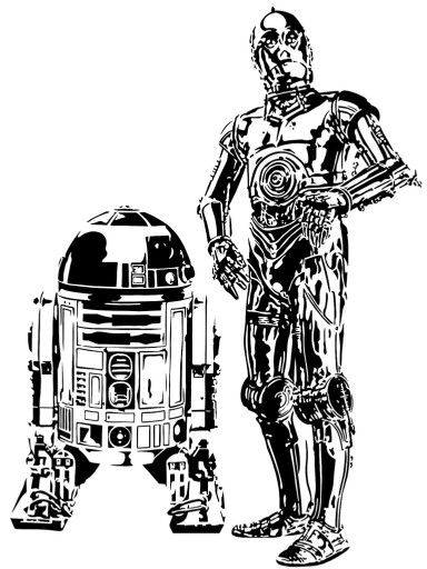 R2d2 And C3po Drawing R2D2 & C3PO | Patt...