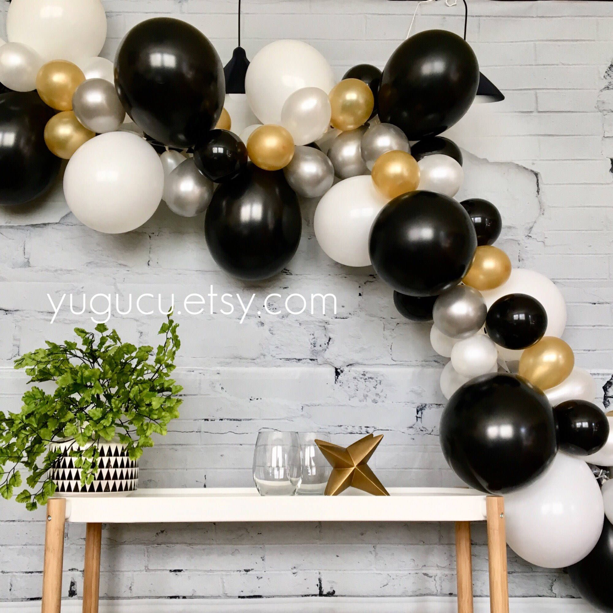 Balloon Garland Kit Diy Balloon Garland Black Gold Silver And