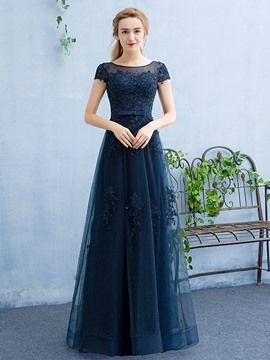 e346211ae41 Ericdress Cap Sleeves A-Line Scoop Appliques Beading Evening Dress ...