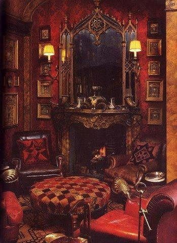 Gothic style fireplace <3 reminds me of a 50 shades room ...