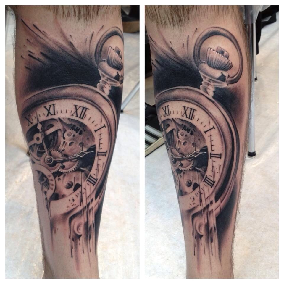 Pocket watch tattoo by Florian Karg