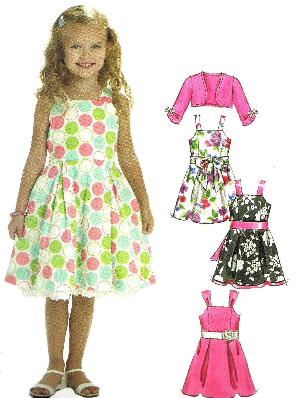 Child\'s Dress Pattern Shrug Jacket Princess Seams Sash Tie McCall\'s ...