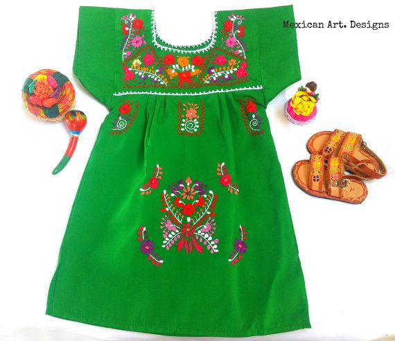 a9f5d53f29 Sarita Green Mexican Embroidered Fiesta Baby Dress Size 6-9
