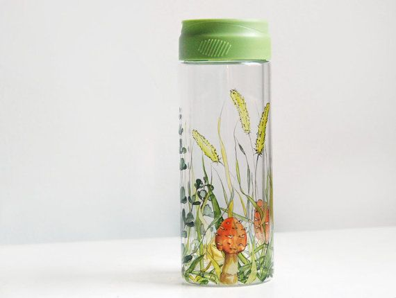 ready to ship  Water Bottle with Lid   Shrooms and by yevgenia, $65.00