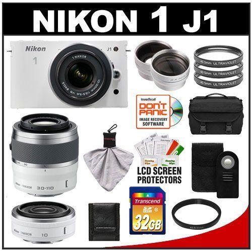 Nikon 1 J1 Digital Camera Body With 10 30mm 30 110mm Vr Lens White With 10mm F 2 8 Lens 32gb Card Case Filters Digital Camera Vr Lens Camera Hacks