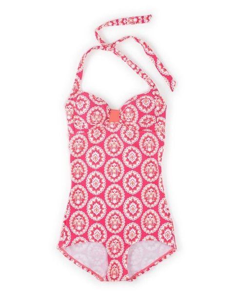 8041ce3badb Vintage Badeanzug mit angeschnittenem Bein Boyleg Swimsuit, Ruffle Swimsuit,  Halter One Piece Swimsuit,