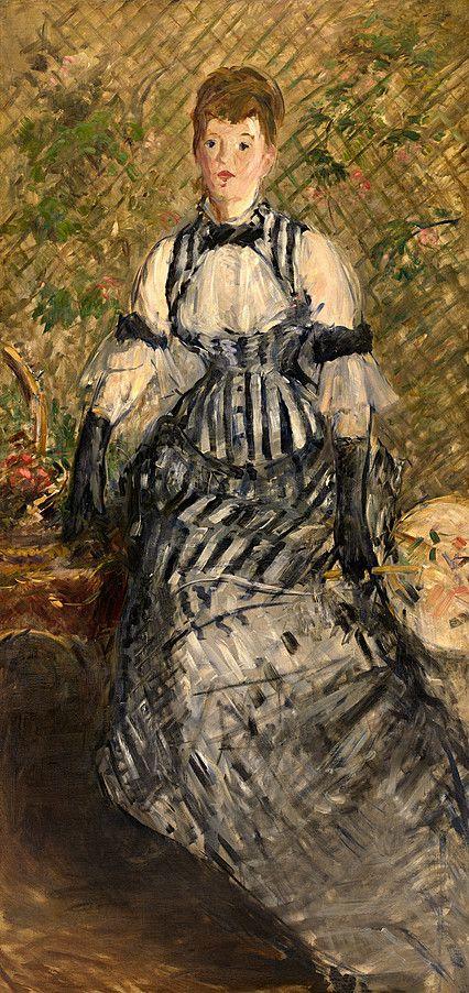 Image result for Édouard Manet, Femme en robe à rayures,