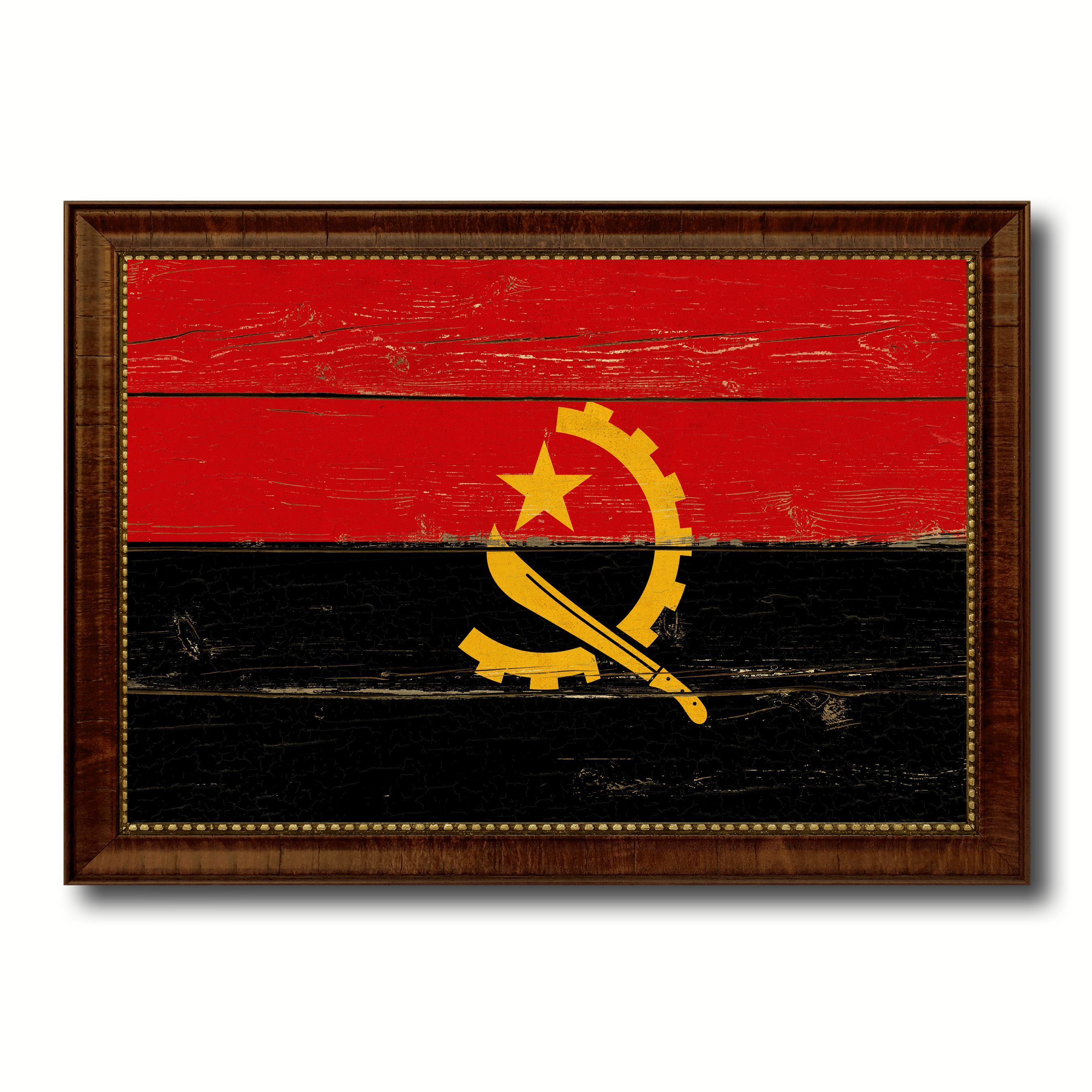 Country Flag Vintage Canvas Print with Brown Picture Frame Home ...