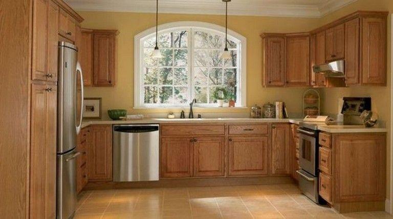35 Beautiful Kitchen Paint Colors Ideas With Oak Cabinet Kitchen Decor Inspiration Beautiful Kitchen Cabinets Kitchen Paint Colors
