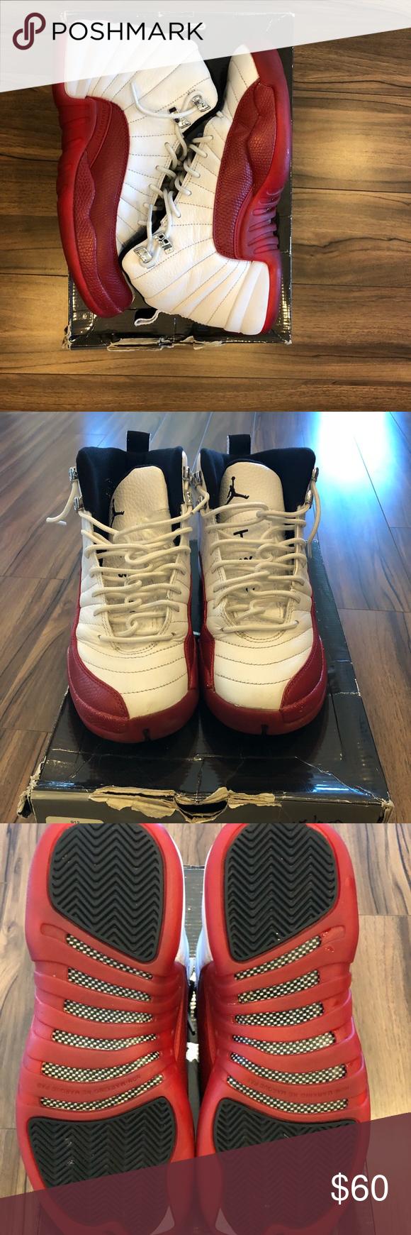 0a001a835f3324 AIR JORDAN 12 CHERRY (GS) 6.5Y Jordan Retro 12 Grade School Sz 6.5Y White Varsity  Red. 130690-110 Used good condition missing insoles Jordan Shoes Sneakers