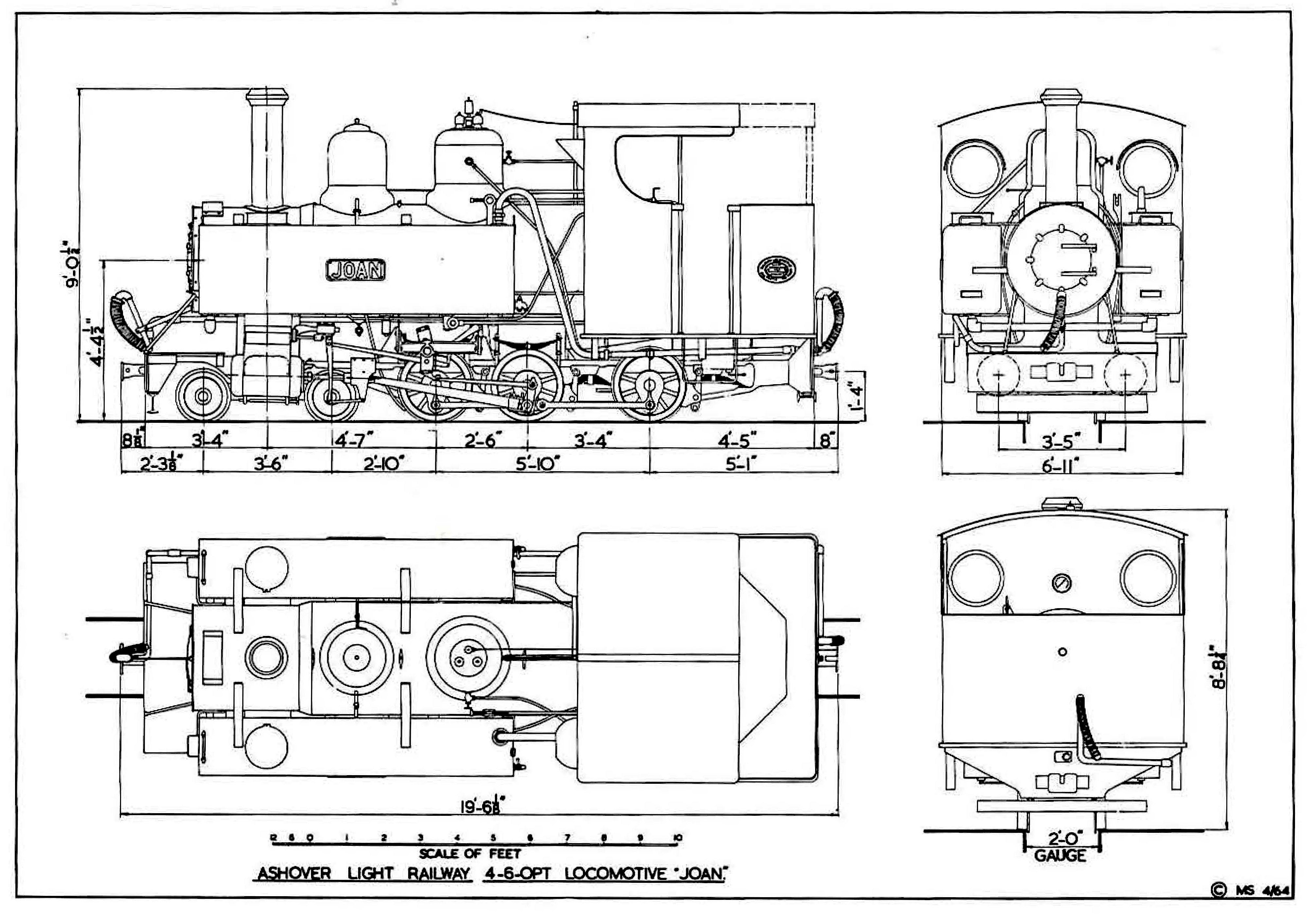Line drawings of ALR Baldwin 4-6-0PT locomotive 'Joan