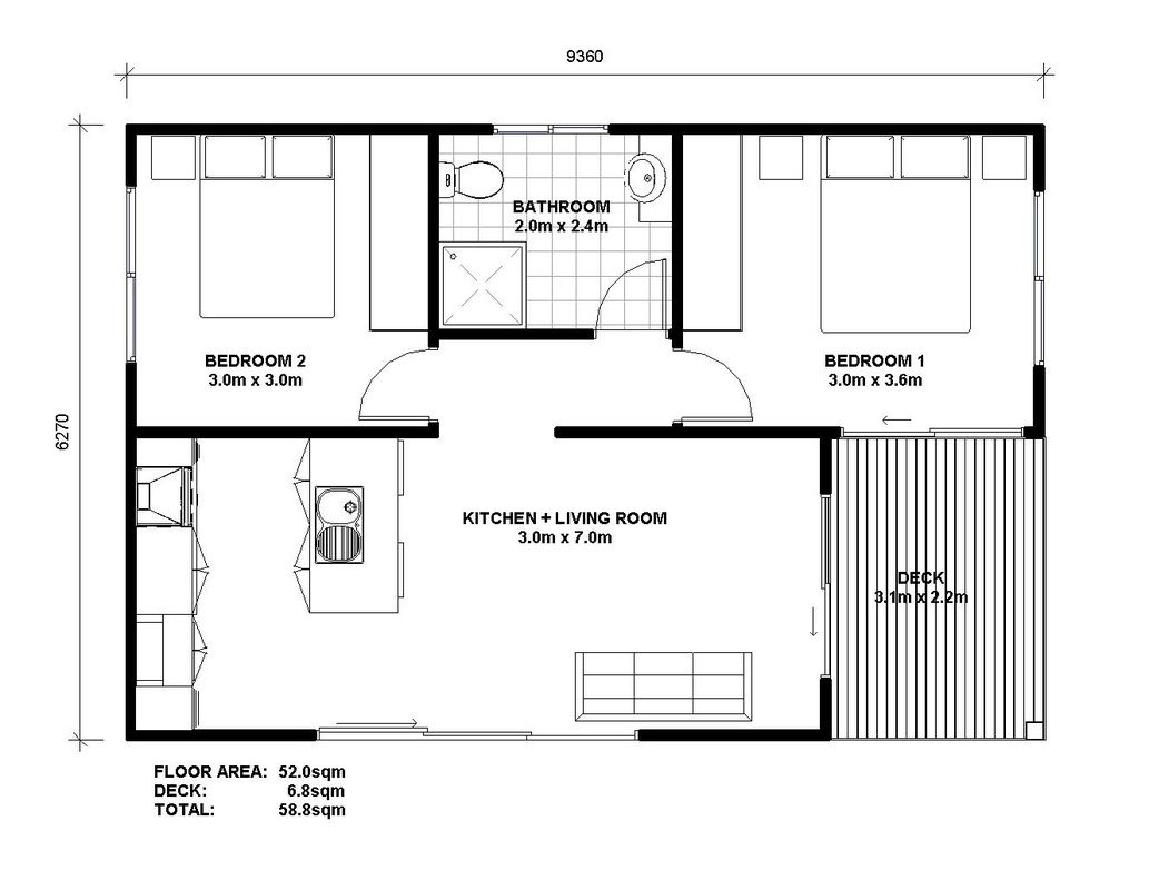 Granny flat plans google search granny flats for Home design 60m2