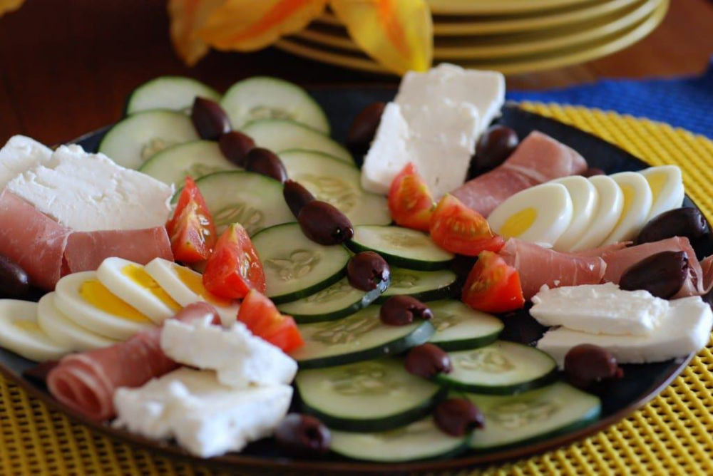 Meza (A plate of cucumbers, smoked meat, cheese, olives, tomatoes and hard boiled eggs) #hardboiledeggs Meza (A plate of cucumbers, smoked meat, cheese, olives, tomatoes and hard boiled eggs) #hardboiledeggs