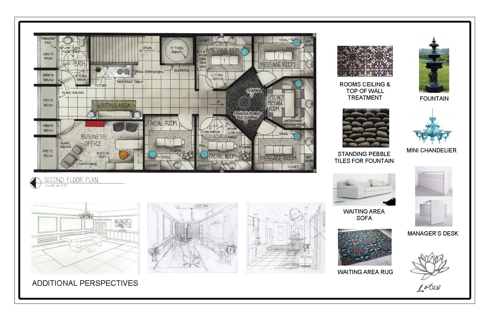 Day spa floor plans second plan materials and additional perspectives also rh pinterest