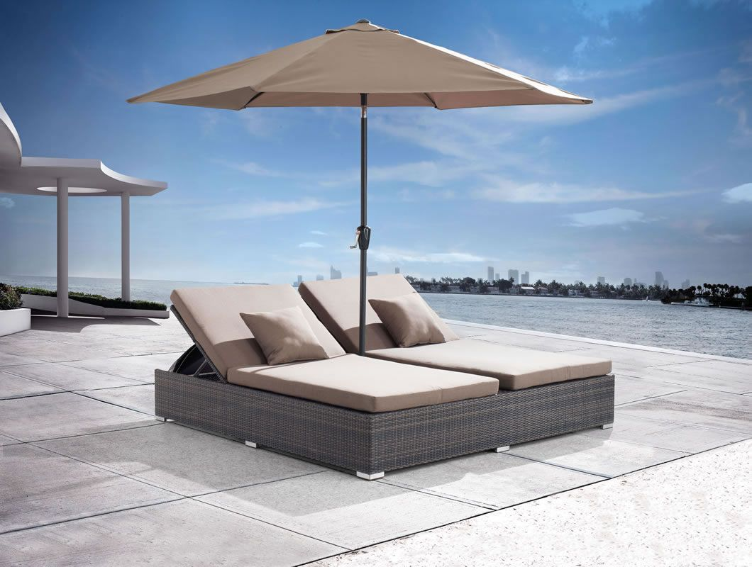 Outdoor Double Chaise Lounger With Umbrella Double Chaise Lounge Patio Patio Furniture