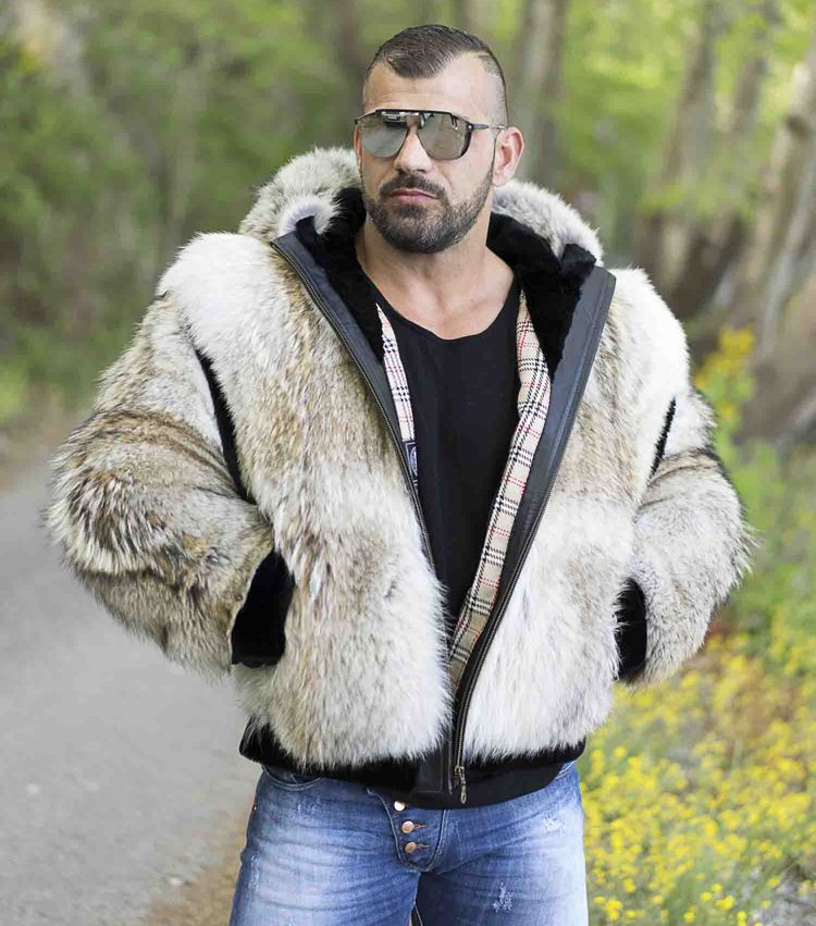 Mens Coyote Furs Mens Coyote Fur Jacket With Hood