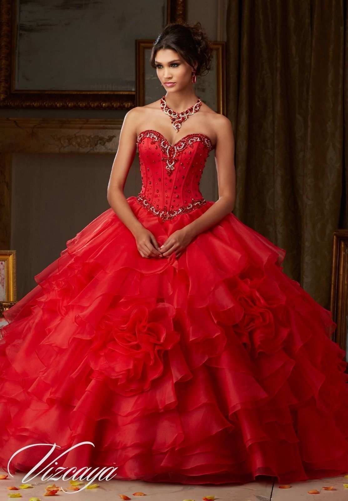Cool new red quinceanera dresses formal prom ball gown pageant
