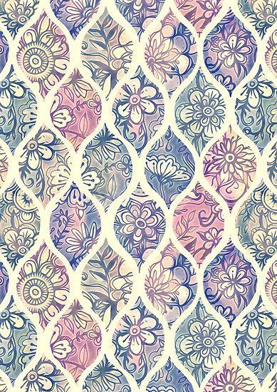 Lámina fotográfica ''Ogee floral estampado y pintado en tonos vintage' de micklyn