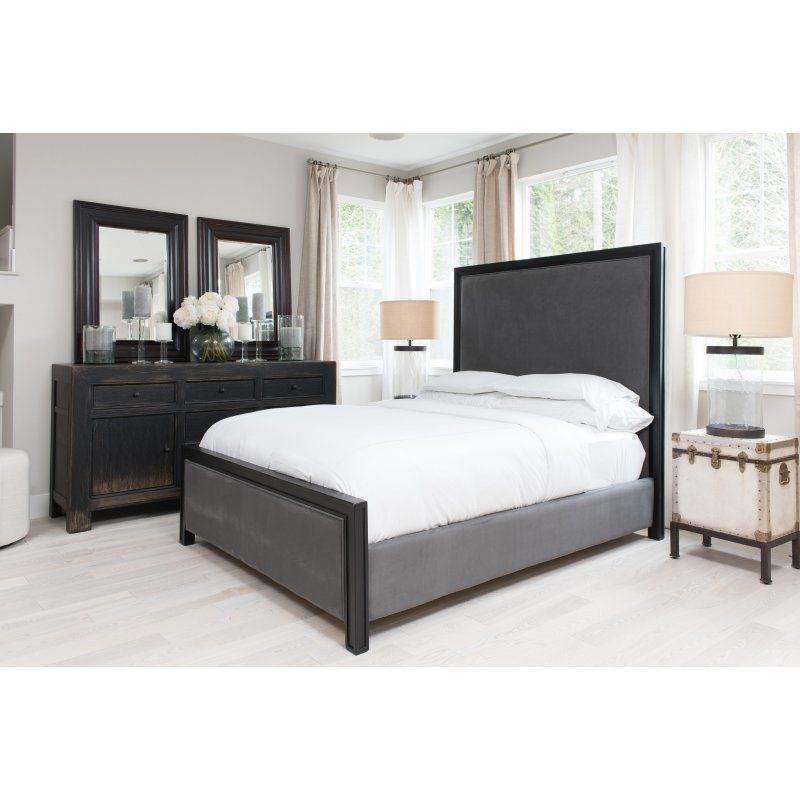Elements Fine Home Furnishings Tailor Fabric Panel Bed Smoke