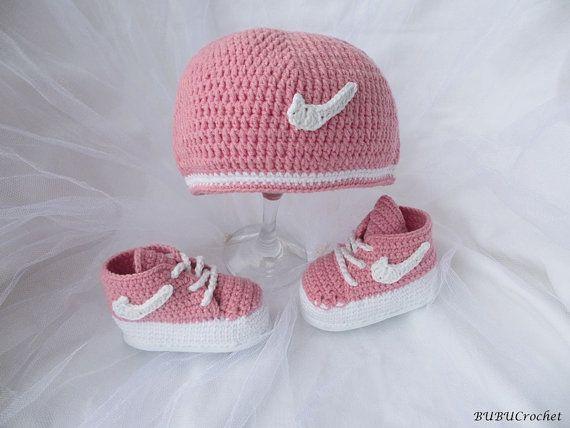 Crochet Baby Hats Nike hat and booties crochet 7c2dee71f94