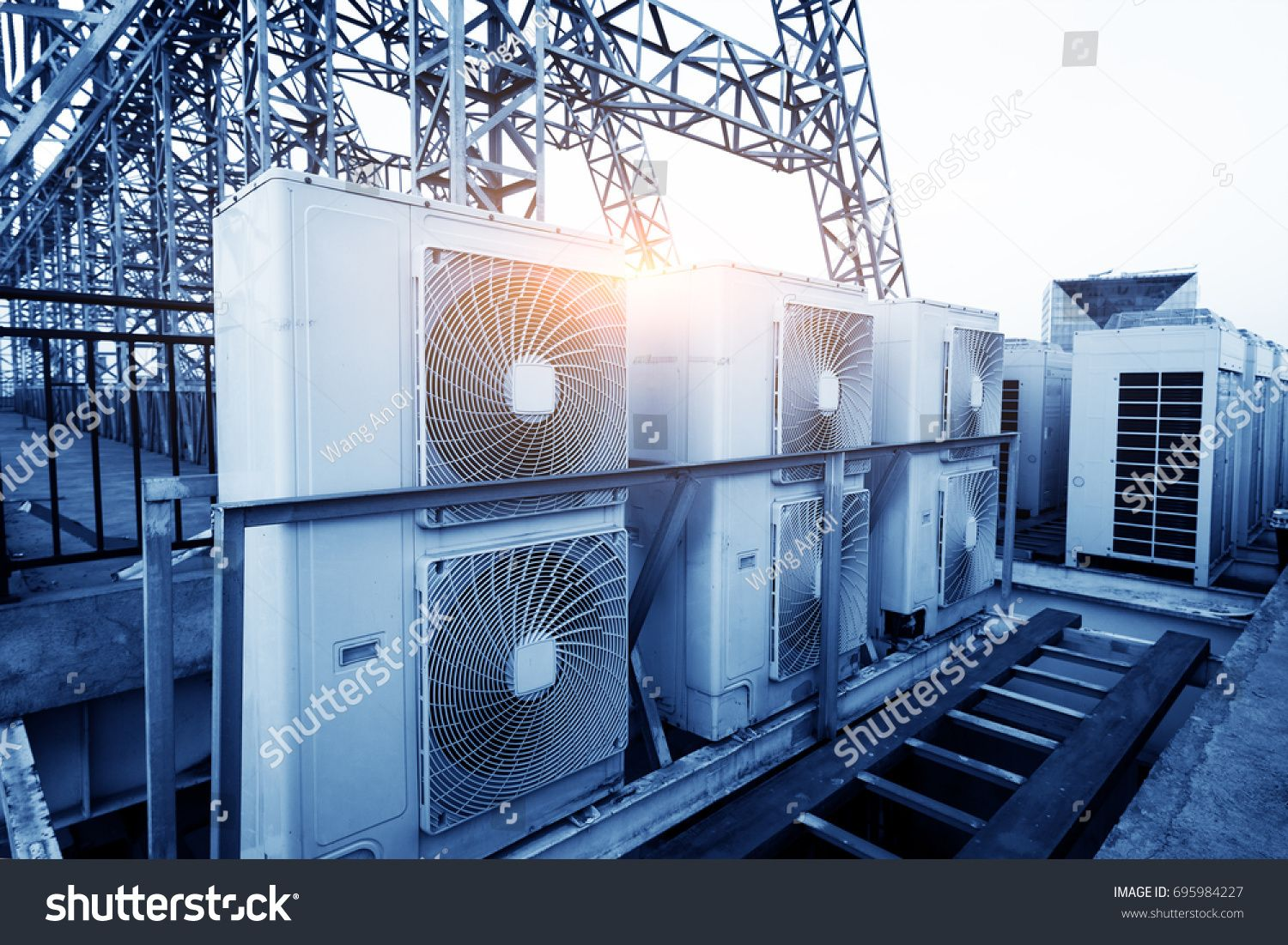 Air conditioner units (HVAC) on a roof of industrial