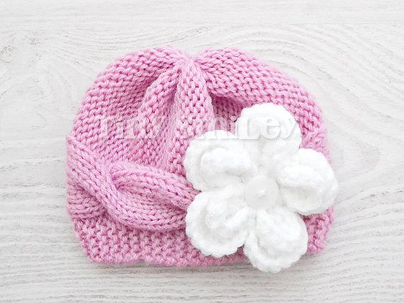 46bcf1e6037 Knit Baby Hat Cable Baby Girl Hat Pink Knit Baby Girl Hat ...