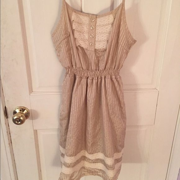Tulle Medium Sundress Cream Colored Sun Dress, Broken Strap Tulle Dresses Midi