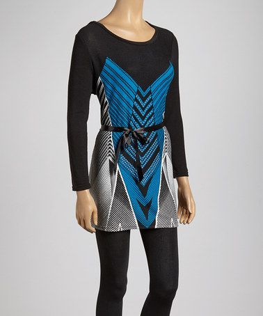 Another great find on #zulily! Black & Cobalt Stripe Scoop Neck Tunic #zulilyfinds
