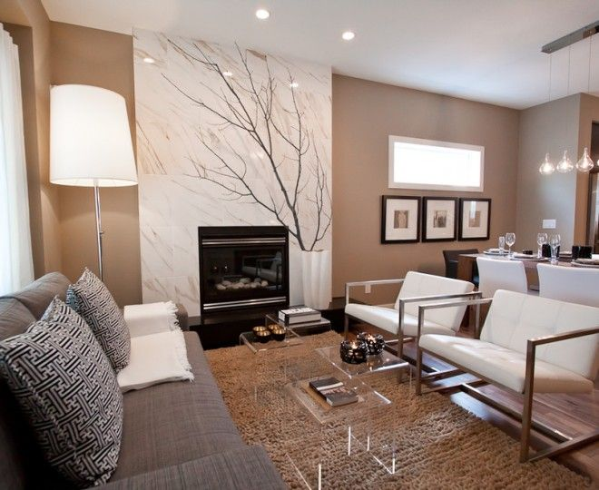 Dazzling Acrylic Coffee Table Trend Calgary Contemporary Living - Gray and tan living room ideas