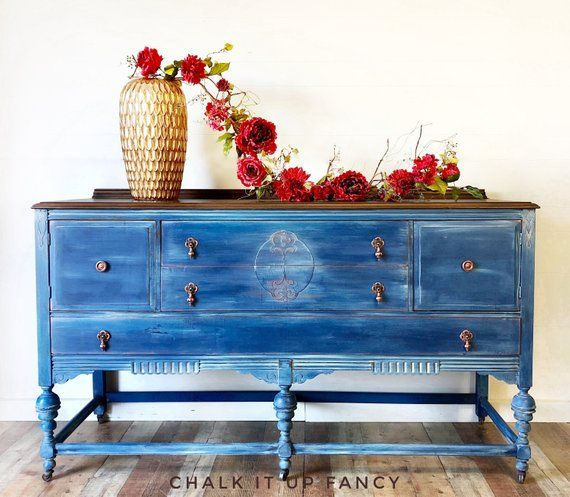 Hand Painted Buffet Blue Denim Tv Stand Changing Table Copper Tone