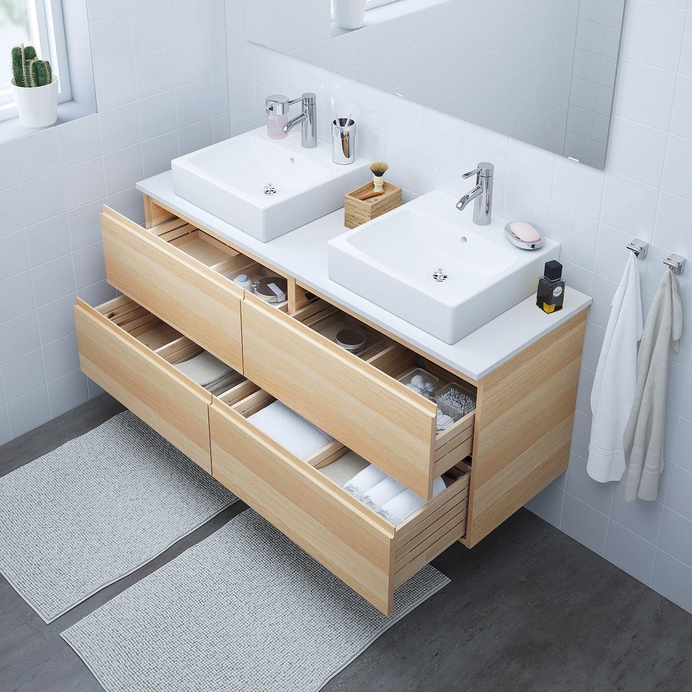 GODMORGON Meuble lavabo 16tir - effet chêne blanchi - IKEA en 16