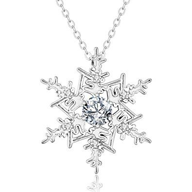 """Sterling Silver Snowflake Pendant with Genuine White Topaz 18"""" Chain"""