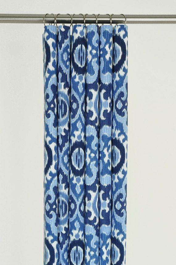 Navy Blue Ikat Shower Curtain 72 X MEDITERRANEAN By PondLilly Pattern Curtains