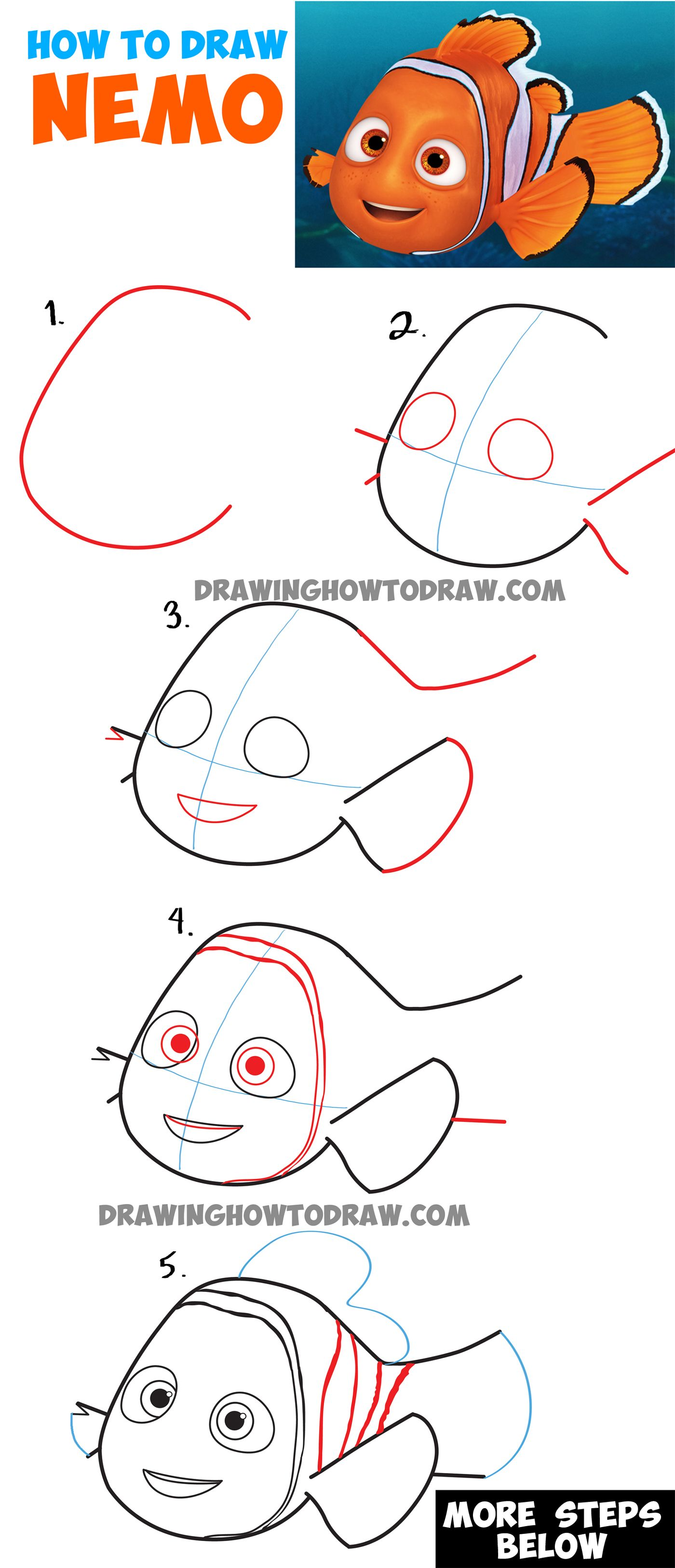 How to Draw Nemo from Disney\'s Finding Dory : Step by Step Drawing ...