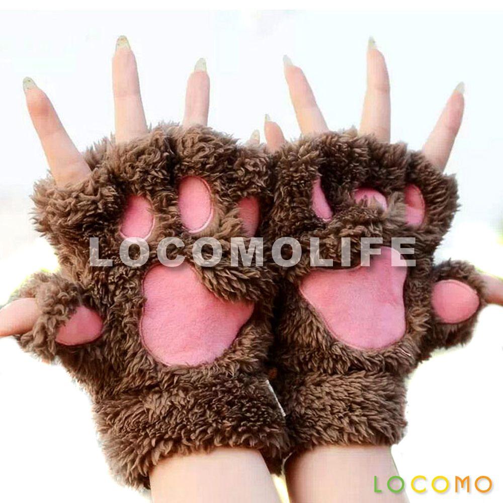 Women Girl Cute Cat Kitten Paw Fingerless Faux Fur Gloves Brown Paw Gloves Fingerless Mittens Warm Mittens