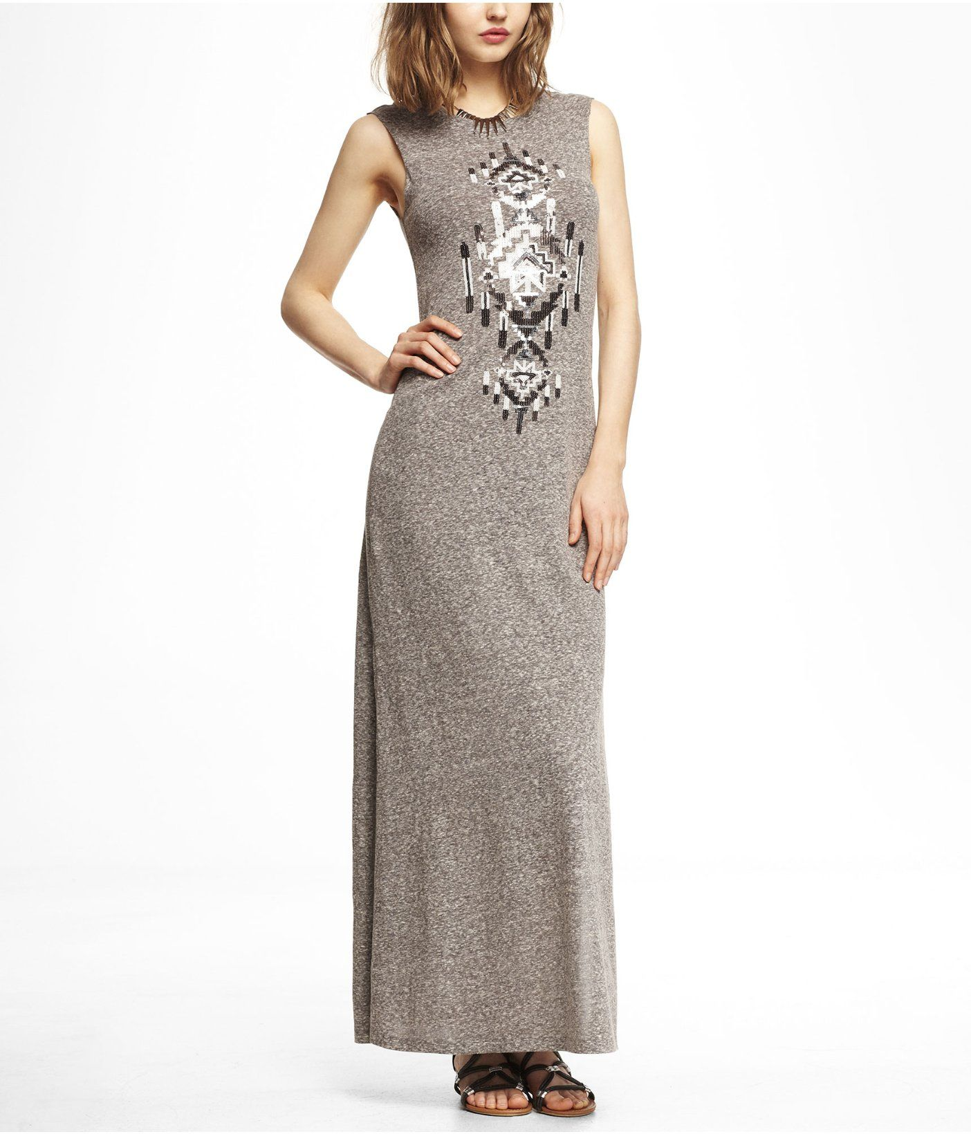 SEQUIN EMBELLISHED NEP KNIT MAXI DRESS | Express