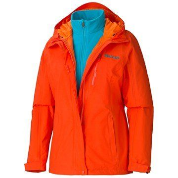 Marmot Ramble Component Jacket, Women's Medium, Sunset Orange Shell is made of Marmot MemBrain® waterproof, breathable fabric. The Marmot Ramble Component jacket features a removable 100-weight fleece liner. Adjustable hood, hem and cuffs. Zippered hand pockets