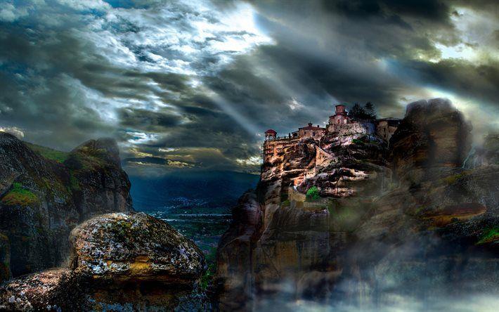 Lataa kuva Meteora, vuoret, kallioita, luostari, Kreikka