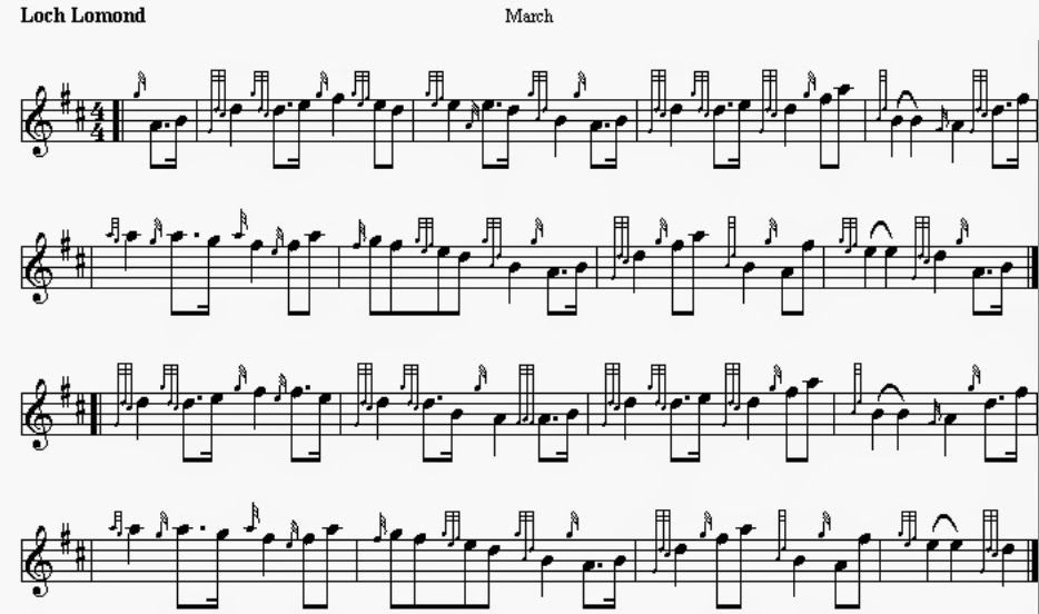 bagpipe sheet music for loch lomond - Google Search