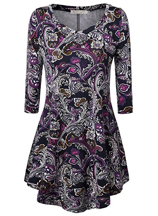 008b1ac92c78 BAISHENGGT Women's Paisley Print V Neck Tunic 3/4 Sleeve Flared Top T-shirt  Purple X-Large