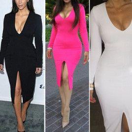 2015 Women Sexy Bodycon Dresses Long Sleeve Slim Sheath Vent Ladies Casual Dress Club Party Dress Black/White/Rose Free Ship