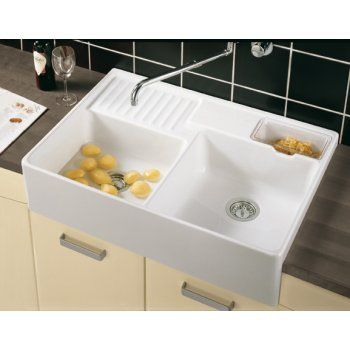Villeroy Boch Butler 90 895mm X 630mm White Double Bowl Belfast Ceramic Sit On Kitchen Sink 6323 00 01 Double Kitchen Sink Ceramic Kitchen Sinks Sink