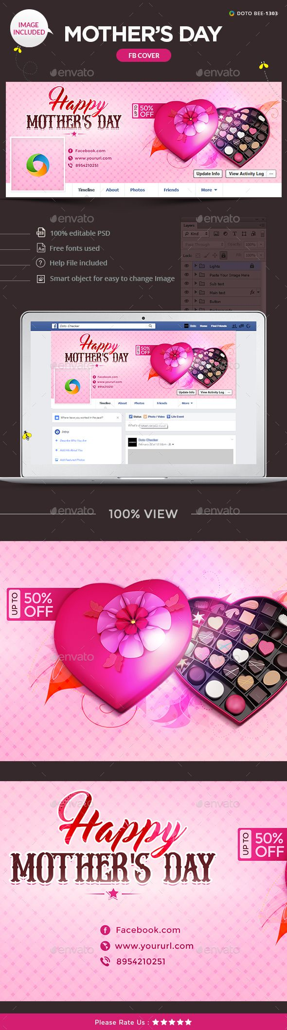 Mother\'s Day Facebook Timeline Cover Template - Download Here : http ...