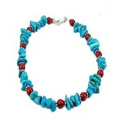 Turquoise Chips, Red Coral Sterling Silver Anklet -