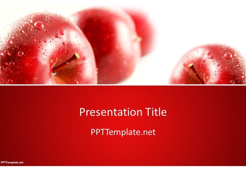 free red apples ppt template | template | pinterest | ppt template, Modern powerpoint