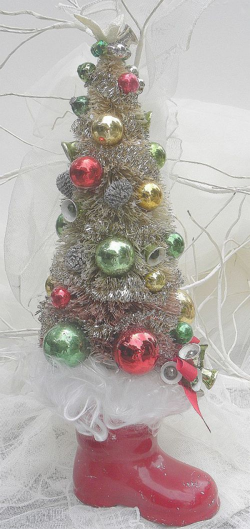 Vintage Bottle Brush Christmas Tree Mercury Glass Bells store
